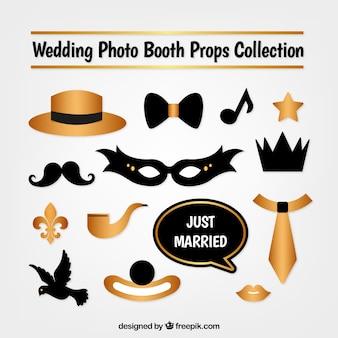 Coleção máscara e cabine de fotos de ouro