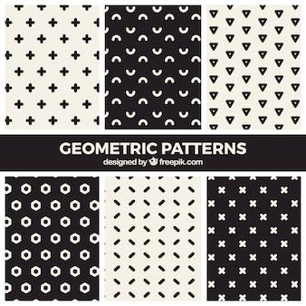 Coleção moderna de padrões geométricos em preto e branco