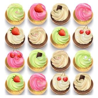 Coleção multicolor de cupcake