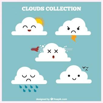 Coleção nuvem com elementos meteorológicos