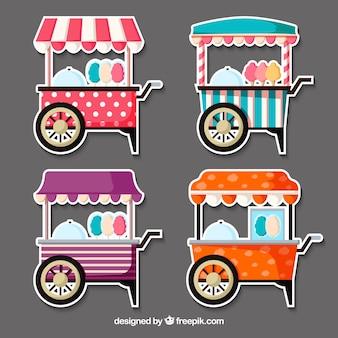 Coleção plana de carrinhos de algodão doce
