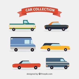 Coleção plana de diferentes tipos de veículos