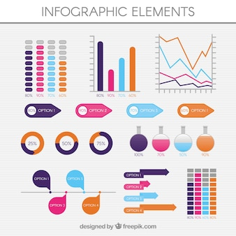 Coleção plana de elementos úteis para infografia
