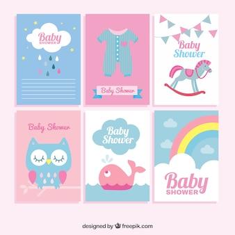 Coleção plana de grandes cartões do chuveiro do bebê em cores pastel