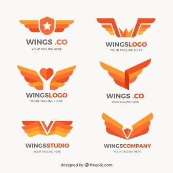 Coleção plana de logotipos de asas em tons de laranja