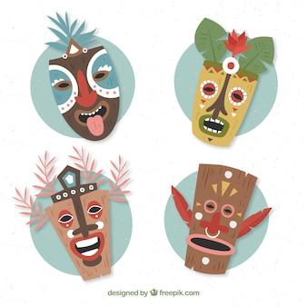 Coleção plana de máscaras tiki