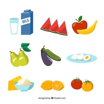 Coleção plana de produtos saudáveis