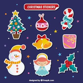 Coleção plana etiquetas do Natal