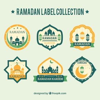 Coleção retro das etiquetas de ramadan