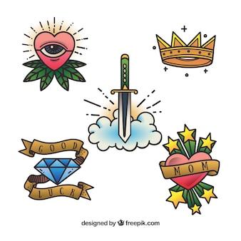 Coleção retro de tatuagens