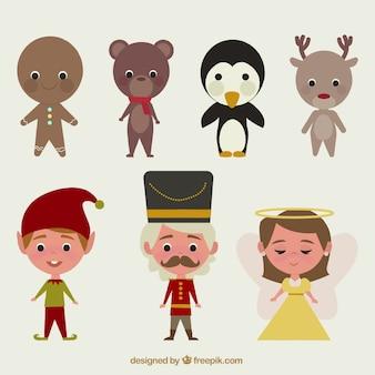Coleção retro dos personagens de conto de natal