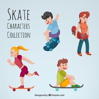 coleção simpático personagem skater