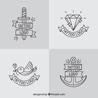 Coleção simples de tatuagem de logotipos