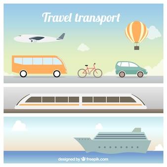 Coleção transporte viagens plana