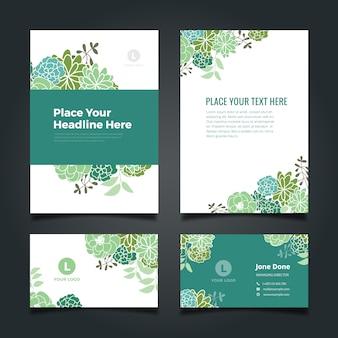 Coleção verde dos artigos de papelaria do negócio