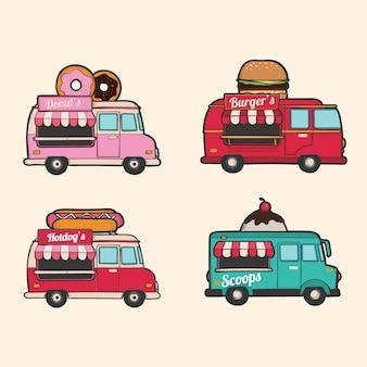 Coleção vintage de caminhões de comida desenhados a mão