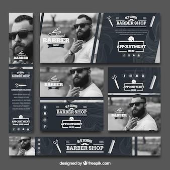 Coleção vintage do banner do barbeiro