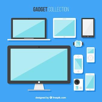 Colecção de gadgets planas