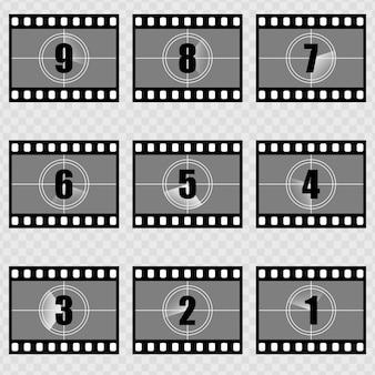 Colecções de abertura de filme silencioso de contagem decrescente. Contagem regressiva do filme vintage