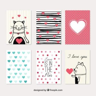 Coleta de cartões do amor bonito