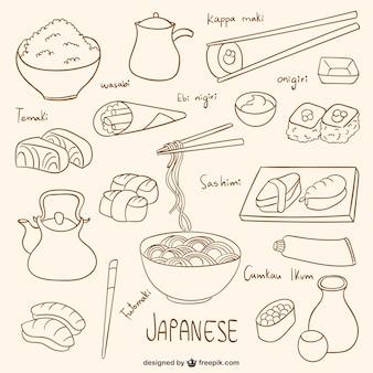 Coleta de comida japonesa desenhada