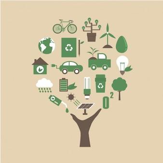 Coleta de ícones da ecologia