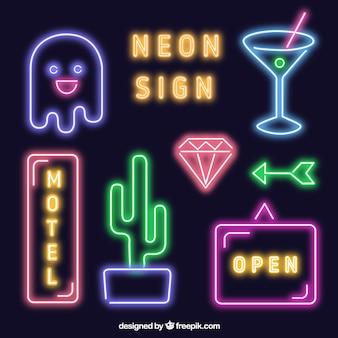 Coleta de sinais de néon brilhante