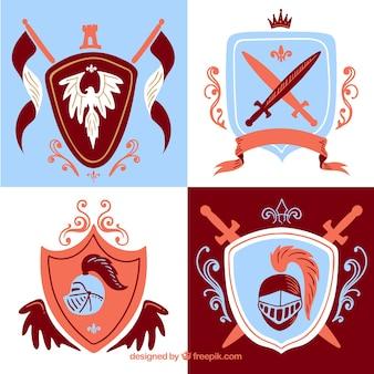 Coloque os emblemas vermelho e azul dos cavaleiros