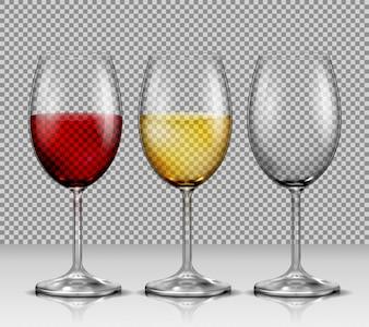 Coloque vasos de vinho vetoriais transparentes vazios, com vinho branco e vermelho