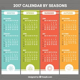 Colored 2017 calendário com desenhos das estações