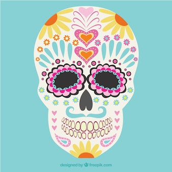 Colorful crânio mexicano floral