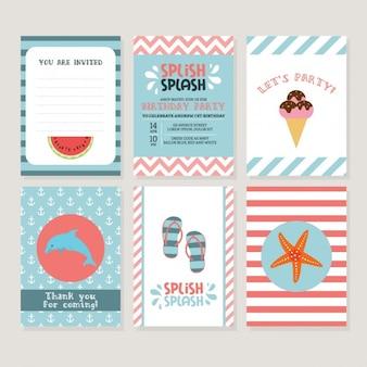 Coloridas cartões de verão