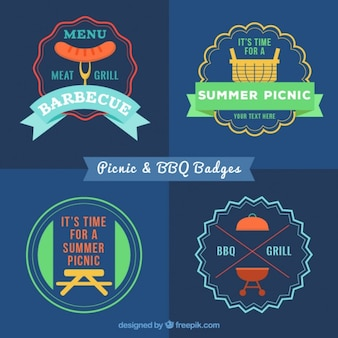 Coloridas churrasco e piquenique planas emblemas no estilo do vintage
