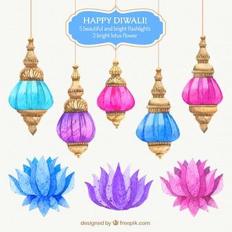 Coloridas lanters Diwali aguarela