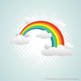 Colorido arco-íris nas nuvens abstrato