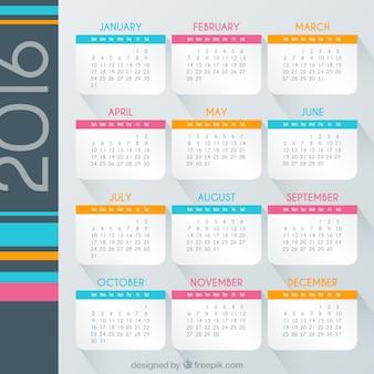Colorido calendário 2016