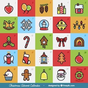 Colorido calendário do advento do Natal