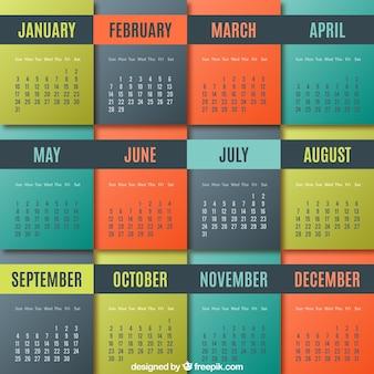 Colorido calendário geométrica