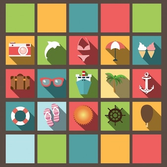 Colorido coleção ícones do verão