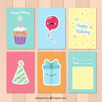 Colorido coleção cartões de aniversário