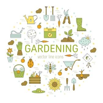 Colorido ícone de jardinagem set