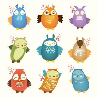 Colorido corujas coleção