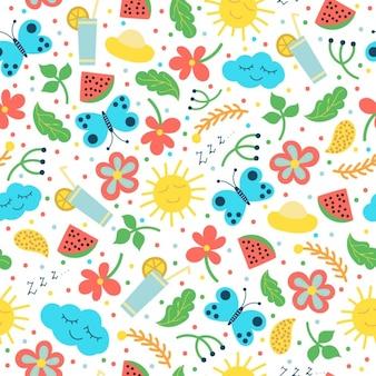 Colorido elementos de verão padrão