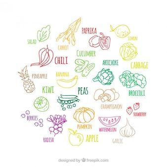 Colorido esboça frutas e legumes conjunto