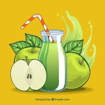 Colorido, fundo, maçã, suco