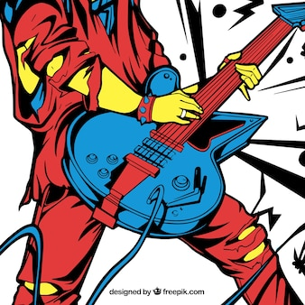 Colorido, fundo, pesado, guitarra, jogador