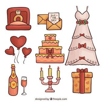 Colorido, jogo, mão-drawn, casamento, objetos