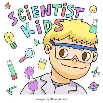 Colorido menino cientista e ícones