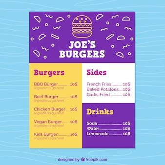 Colorido menu de hambúrguer em design plano