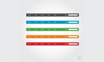 Colorido menu de navegação bares vector